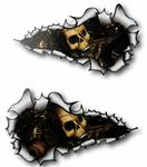 SMALL Long Pair Ripped Metal Design With Evil SKULL Inside Vinyl Car Sticker 73x41mm each